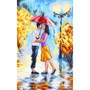 """Канва/ткань с нанесенным рисунком Матрёнин посад """"Двое под зонтом"""""""