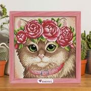 """Набор для выкладывания мозаики Алмазная живопись """"Кошка в веночке"""""""