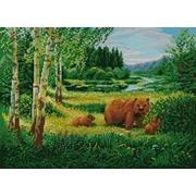 """Канва/ткань с нанесенным рисунком Конёк """"Пейзаж с медведями"""""""