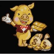 """Канва/ткань с нанесенным рисунком Конёк """"Золотая свинка"""""""