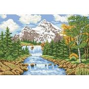 """Канва/ткань с нанесенным рисунком Каролинка """"Речка в лесу"""""""
