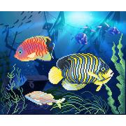 """Канва/ткань с нанесенным рисунком М.П. Студия """"Подводное царство"""""""