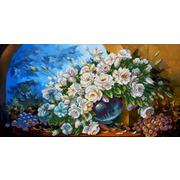 """Канва/ткань с нанесенным рисунком Конёк """"Букет из белых роз"""""""
