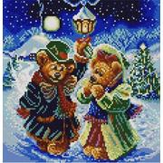 """Канва/ткань с нанесенным рисунком Конёк """"Новогодние мишки"""""""
