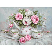 """Набор для вышивания крестом Luca-S """"Чайный сервиз и розы"""""""