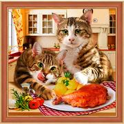 """Набор для выкладывания мозаики Алмазная живопись """"Коты воришки"""""""
