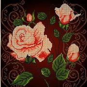 """Канва/ткань с нанесенным рисунком Божья коровка """"Чайная роза"""""""