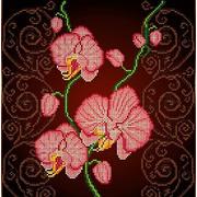 """Канва/ткань с нанесенным рисунком Божья коровка """"Орхидея розовая"""""""