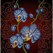 """Канва/ткань с нанесенным рисунком Божья коровка """"Орхидея голубая"""""""