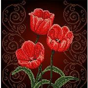 """Канва/ткань с нанесенным рисунком Божья коровка """"Тюльпаны"""""""