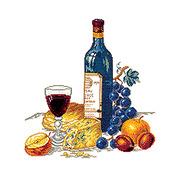 """Набор для вышивания крестом Eva Rosenstand """"Сыр и красное вино"""""""