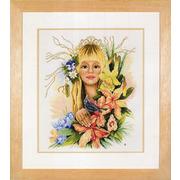 """Набор для вышивания крестом LANARTE """"Spring flower girl"""""""