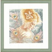 "Набор для вышивания крестом LANARTE ""Young woman with peacock feathers"""