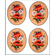 "Канва/ткань с нанесенным рисунком Gobelin-L ""Маки и ромашки, овал"", 4 картинки"