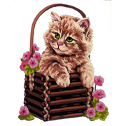 "Канва/ткань с нанесенным рисунком Gobelin-L ""Котенок в корзине"""