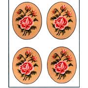 """Канва/ткань с нанесенным рисунком Gobelin-L """"Роза,овал"""", 4 картинки"""