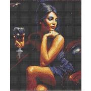 """Канва/ткань с нанесенным рисунком Каролинка """"Девушка с бокалом"""""""