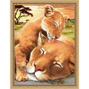 """Набор для выкладывания мозаики Алмазная живопись """"Львенок с мамой"""""""