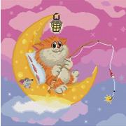 """Набор для вышивания крестом Белоснежка """"Котик на луне"""""""