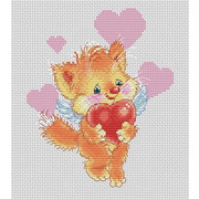 """Набор для вышивания крестом Белоснежка """"Котенок с сердечком"""""""