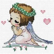 """Набор для вышивания крестом Белоснежка """"Ангелочек с сердечками"""""""