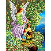 """Канва/ткань с нанесенным рисунком Каролинка """"Ангел и дети"""""""