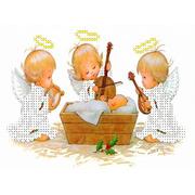 """Канва/ткань с нанесенным рисунком Каролинка """"Три ангелочка у колыбели"""""""