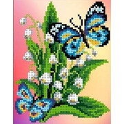"""Канва/ткань с нанесенным рисунком Каролинка """"Бабочки на ландышах"""""""