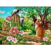 """Канва/ткань с нанесенным рисунком Каролинка """"Любопытный кот"""""""