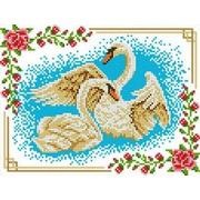 """Канва/ткань с нанесенным рисунком Каролинка """"Лебеди"""""""