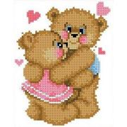 """Канва/ткань с нанесенным рисунком Каролинка """"Влюбленные медвежата"""""""