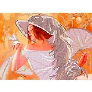 """Канва/ткань с нанесенным рисунком Каролинка """"Девушка с веером"""""""