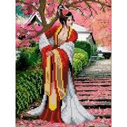 """Канва/ткань с нанесенным рисунком Каролинка """"Японский сад"""""""