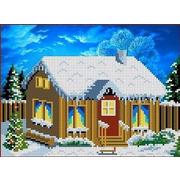 """Канва/ткань с нанесенным рисунком Каролинка """"В деревне. Зимой"""""""