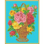 """Канва/ткань с нанесенным рисунком Каролинка """"Корзина с розами"""""""