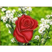 """Канва/ткань с нанесенным рисунком Каролинка """"Роза в ромашках"""""""