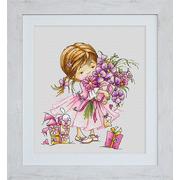 """Набор для вышивания крестом Luca-S """"Девочка с букетом"""""""