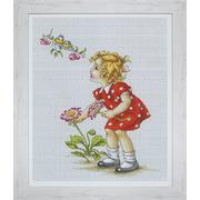 """Набор для вышивания крестом Luca-S """"Девочка в красном платье"""""""