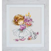 """Набор для вышивания крестом Luca-S """"Девочка с котёнком и тортиком"""""""