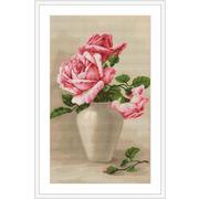 """Гобелен Luca-S """"Розовые розы в белой вазе"""""""