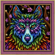 """Набор для выкладывания мозаики Алмазная живопись """"Радужный волк"""""""