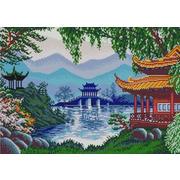 """Канва/ткань с нанесенным рисунком Конёк """"Китайские пагоды"""""""