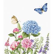 """Набор для вышивания крестом Luca-S """"Летние цветы и бабочки"""""""