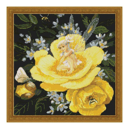 """Набор для вышивания крестом Kustom Krafts Inc. """"Фея на желтом пионе"""""""