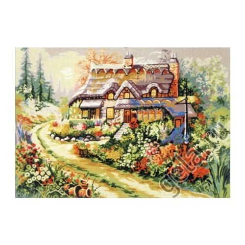 """Канва/ткань с нанесенным рисунком Gobelin-L """"Цветущий палисадник"""""""