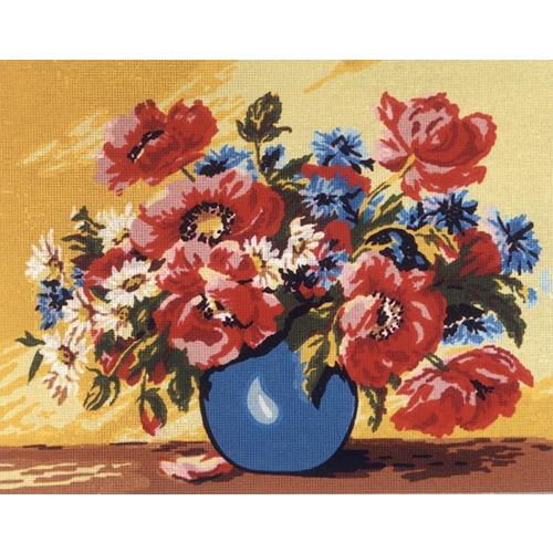 """Канва/ткань с нанесенным рисунком Diamant """"Маки в синей вазе"""""""