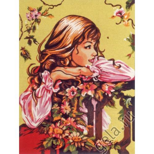 """Канва/ткань с нанесенным рисунком Diamant """"Мечтательная леди"""""""