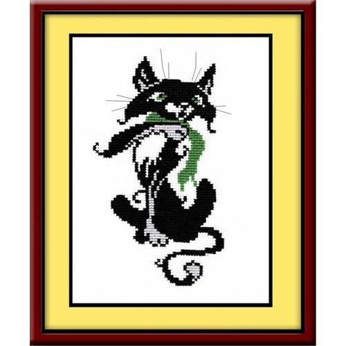 """Набор для вышивания крестом Овен """"Кот с шарфом"""""""