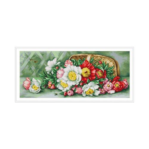 """Набор для вышивания крестом Luca-S """"Корзина с пионами"""""""