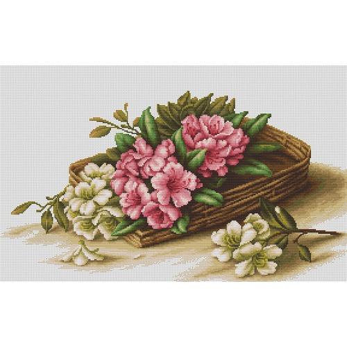 """Набор для вышивания крестом Luca-S """"Цветы азалии в корзине"""""""